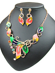 cheap -Women's Cuban Link / Curb Jewelry Set - Butterfly Sweet Lolita, Romantic, Fashion Include Hoop Earrings / Choker Necklace / Pendant Necklace Rainbow / Red / Green For Daily / Evening Party