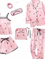 cheap -Women's Square Neck Suits Pajamas Geometric