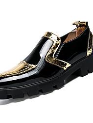Недорогие -Муж. Полиуретан Осень Удобная обувь Туфли на шнуровке Контрастных цветов Золотой / Черный