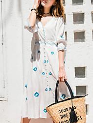 billige -Dame I-byen-tøj Skede Kjole Midi V-hals