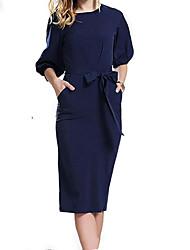 economico -Per donna Chiffon Vestito Al ginocchio