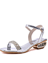 cheap -Women's Shoes PU(Polyurethane) Summer Ankle Strap Sandals Low Heel Imitation Pearl Gold / Black / Silver