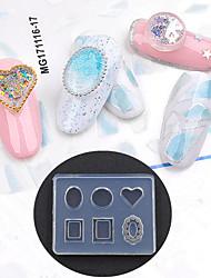 Недорогие -1 pcs Искусственные советы для ногтей Стразы для ногтей Инструмент для штамповки ногтей шаблон Модный дизайн маникюр Маникюр педикюр Простой стиль На каждый день / Украшения для ногтей