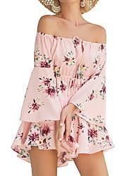 baratos -Mulheres Boho / Moda de Rua Macacão - Cordões / Estampado, Floral