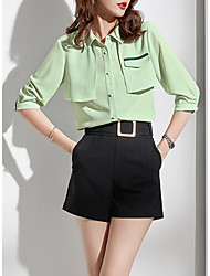 cheap -women's work blouse - solid colored shirt collar