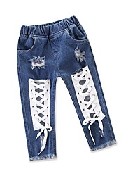 cheap -Baby Girls' Street chic / Punk & Gothic Holiday / Going out Solid Colored Cut Out Jeans / Toddler