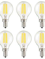 Недорогие -KWB 6шт 4 W 400 lm E14 / E26 / E27 LED лампы накаливания G45 4 Светодиодные бусины SMD Декоративная Тёплый белый 220-240 V