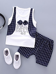 cheap -Baby Boys' Casual Party Houndstooth Short Sleeve Short Cotton Clothing Set / Toddler