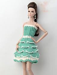 Недорогие -Платье куклы Платья Для Barbie Полосы / волосы Разные цвета Зеленый с белым Плетеные изделия Полиэстер Акриловые волокна Платье Для Девичий игрушки куклы