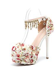 abordables -Femme Chaussures Polyuréthane Printemps été D'Orsay & Deux Pièces Chaussures de mariage Talon Aiguille Bout rond Perle / Fleur en Satin /