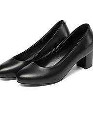 preiswerte -Damen Schuhe Leder Frühling Pumps High Heels Blockabsatz Schwarz
