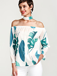 cheap -Women's Holiday Blouse - Floral Tropical Leaf, Print Off Shoulder Choker