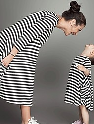 cheap -Toddler Mommy and Me Striped 3/4 Length Sleeve Dress