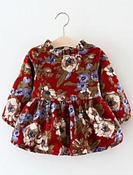 Недорогие -малыш Девочки Шинуазери (китайский стиль) Геометрический принт Длинный рукав Хлопок Платье Красный 100 / Дети (1-4 лет)