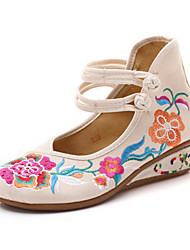 Недорогие -Жен. Обувь Полотно Весна лето / Наступила зима Удобная обувь На плокой подошве Туфли на танкетке Круглый носок Пряжки Белый / Черный / Красный