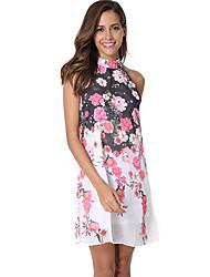 preiswerte -Damen Grundlegend Chiffon Kleid - Druck, Blumen Asymmetrisch