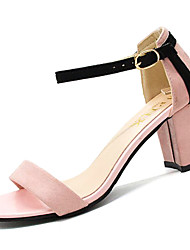 billige -Dame Sko PU Sommer Ankelrem Sandaler Kraftige Hæle Sort / Beige / Lys pink