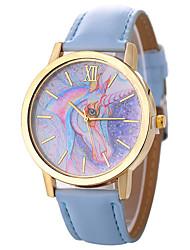 abordables -Xu™ Mujer Reloj de Vestir / Reloj de Pulsera Chino Creativo / Reloj Casual / Esfera Grande PU Banda Dibujos / Moda Negro / Blanco / Azul / Un año