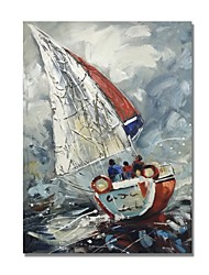 baratos -Pintura a Óleo Pintados à mão - Abstrato / Paisagem Contemprâneo / Modern Tela de pintura