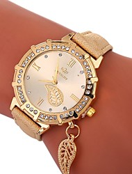 baratos -Xu™ Mulheres Relógio de Pulso Chinês Criativo / imitação de diamante / Mostrador Grande PU Banda Luxo / Folhas Preta / Branco / Azul