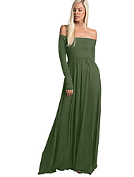 cheap -Women's Slim Swing Dress - Solid Colored High Waist Maxi Strapless