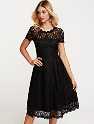 cheap -Women's Sheath Swing Dress - Solid Colored Black, Lace