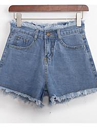 povoljno -ženske pamučne traperice / kratke hlače - čvrsto obojeni visoki struk