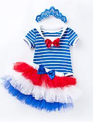 お買い得  -赤ちゃん 女の子 ストライプ 半袖 アンサンブル