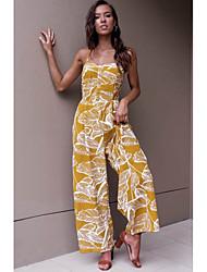 cheap -women's going out / beach jumpsuit - floral wide leg strapless
