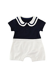 cheap -Baby Boys' Black & White Solid Colored Short sleeves Romper
