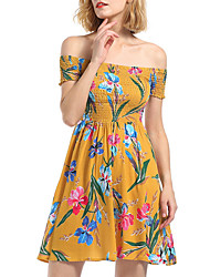 cheap -women's a line dress knee-length boat neck