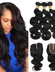cheap -Brazilian Hair Wavy One Pack Solution Human Hair Weaves Extention Natural Black Women's
