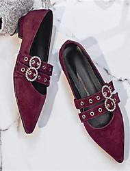 abordables -Mujer Zapatos Piel de Oveja Primavera verano Confort Zapatos de taco bajo y Slip-On Tacón Bajo Dedo Puntiagudo Negro / Wine