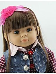 Недорогие -NPKCOLLECTION Модная кукла Девушка из провинции 18 дюймовый Винил - Искусственные имплантации Голубые глаза Детские Девочки Игрушки Подарок