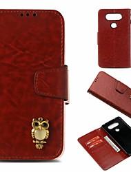 baratos -Capinha Para LG V20 Carteira / Porta-Cartão / Com Suporte Capa Proteção Completa Corujas Rígida PU Leather para LG V20