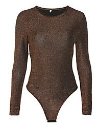 お買い得  -女性は外出するボディスーツを着て - 固体色のラウンドネック