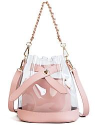 baratos -Mulheres Bolsas PVC Conjuntos de saco 2 Pcs Purse Set Botões Rosa / Bege / Prateado