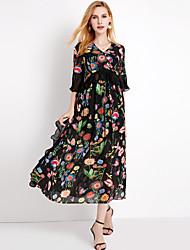 baratos -Mulheres Moda de Rua / Sofisticado Manga Alargamento Bainha / balanço Vestido - Frufru Médio