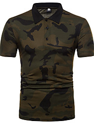 cheap -Men's Cotton Polo - Camouflage Shirt Collar / Please choose one size larger according to your normal size. / Short Sleeve
