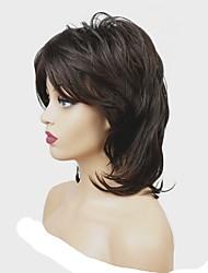 Недорогие -Парики из искусственных волос Жен. Матовое стекло Темно-коричневый Средняя часть Искусственные волосы 100% волосы канекалона Темно-коричневый Парик Средняя длина Без шапочки-основы