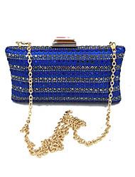 cheap -Women's Bags Satin Evening Bag Crystals Blue
