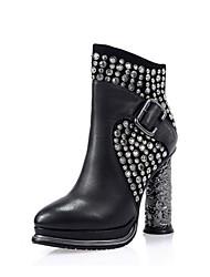 Недорогие -Жен. Обувь Кожа Наступила зима Армейские ботинки Ботинки На толстом каблуке Круглый носок Сапоги до середины икры Заклепки Черный