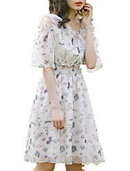 baratos -Mulheres Chifon Vestido Floral Acima do Joelho