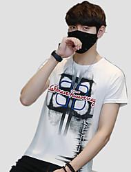 baratos -Homens Camiseta Activo Estampado, Sólido / Letra