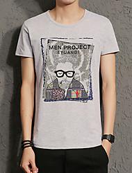 baratos -Homens Camiseta Retrato Algodão Decote Redondo / Manga Curta