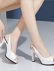 baratos -Mulheres Sapatos Pele Napa Primavera Verão Inovador Saltos Salto Robusto Peep Toe Botas Curtas / Ankle Presilha Branco / Preto / Rosa claro / Festas & Noite