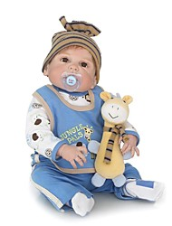 cheap -NPKCOLLECTION Reborn Doll Baby Boy 24 inch Full Body Silicone / Silicone / Vinyl - Artificial Implantation Brown Eyes Kid's Boys' Gift