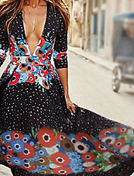 cheap -Women's Plus Size Going out / Holiday Street chic Cotton Slim Swing Dress - Floral Print Maxi V Neck / Deep V