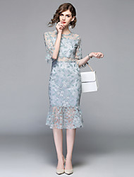 cheap -SHIHUATANG Women's Vintage / Street chic Flare Sleeve Trumpet / Mermaid Dress - Solid Colored Lace