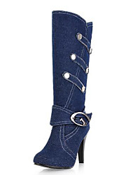 cheap -Women's Shoes Denim Fall & Winter Basic Pump / Fashion Boots Boots Stiletto Heel Round Toe Mid-Calf Boots Buckle Black / Dark Blue / Light Blue